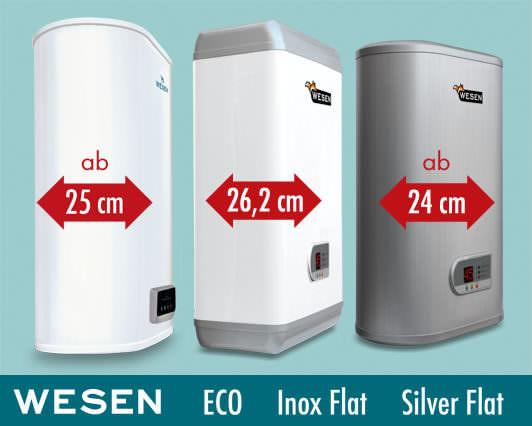 Elektrisch beheizte Warmwasserspeicher Wesen Eco, Inox Flat und Silver Flat.. Kompakte elektrisch beheizte Warmwasserspeicher mit doppeltem Speicher: ab 24cm Tiefe.