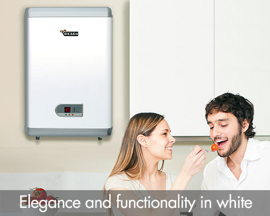 Elegance and functionality in white. Wesen Inox Flat water heater