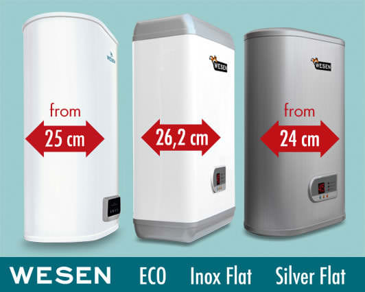 Wesen Eco, Inox Flat & Silver Flat electric water heaters. Compact electric heaters with two cylindrical tanks, from 24cm deep