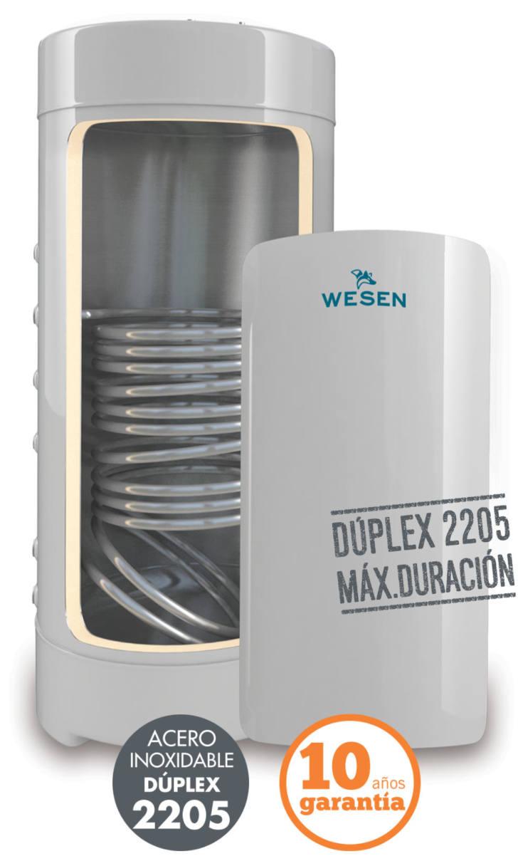 Acumuladores Wesen Serie SC de un serpentín. Acero inoxidable Dúplex 2205 resistente a la corrosión - Nielsen Clima