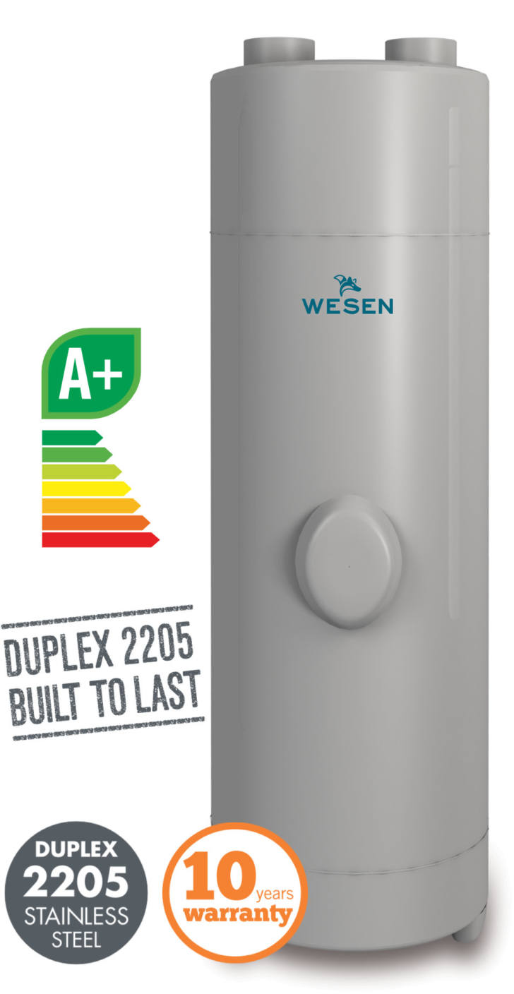 Wesen RIBE aerothermal heat pumps. The most efficient and eco-friendly DHW solution. Manufactured in anti-corrosion Duplex 2205 stainless steel - Nielsen Clima